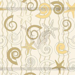 Nahtlose Muster mit Muscheln und Sterne - Stock-Clipart