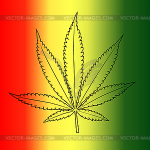 Cannabis Leaf auf Rastafari Flagge Hintergrund - Stock-Clipart