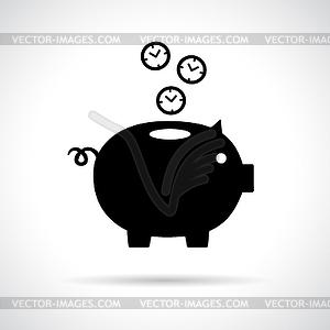 Sparschwein-Symbol mit Uhren in fallenden - Stock Vektorgrafik