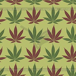 Nahtlose Marihuana Rot und Khaki-Blätter-Muster - Vektor-Clipart EPS
