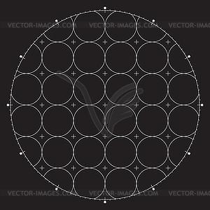 Grid für moderne virtuelle Technologie fantastisch - schwarzweiße Vektorgrafik