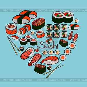 Sushi und Rollen, - farbige Vektorgrafik