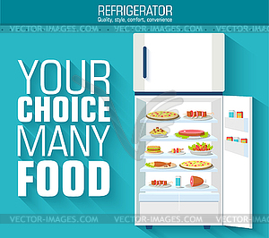 Wohnung Kühlschrank voll von vielen Essen Hintergrund Konzept. - Stock Vektor-Bild