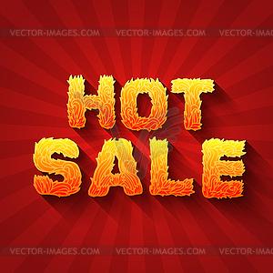 Feuer heißer Verkauf Text auf rotem Hintergrund Konzept. desig - farbige Vektorgrafik