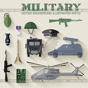 Armee-Konzept von militärischer Ausrüstung Flach Symbole - Vektor-Clipart / Vektor-Bild