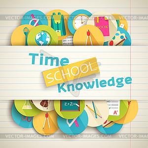 Zurück in die Schule abstrakten Hintergrund der flachen Symbole - Stock Vektor-Clipart
