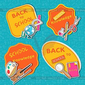Zurück in die Schule abstrakten Hintergrund der flachen Symbole - Vektor-Skizze