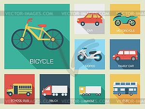 Flachwagen-Konzept Set Icon-Hintergründe Design. Tamp - Vector-Clipart EPS