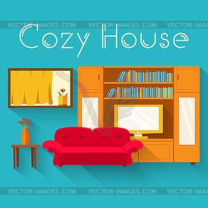 Wohnung gemütlichen Zimmer im Haus mit Möbeln Hintergrund - Vector-Clipart / Vektor-Bild