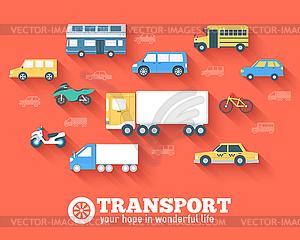 Flachwagen-Konzept Set Icon-Hintergründe Design. Tamp - Vector-Clipart / Vektor-Bild