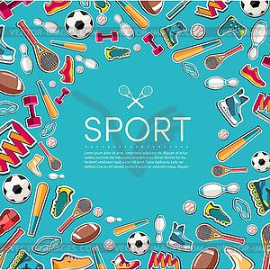 Circular Konzept der Sportwaren Aufkleber - Vector Clip Art