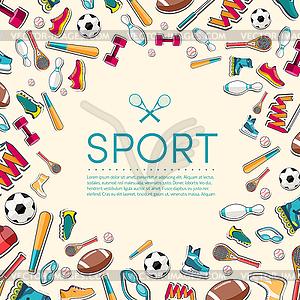 Circular Konzept der Sportwaren Aufkleber - Vektor-Abbildung