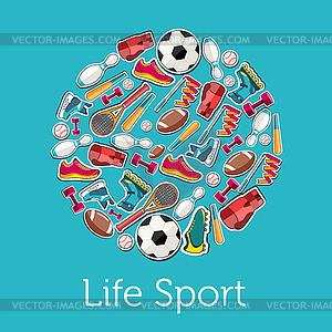 Circular Konzept der Sportwaren Aufkleber - Vector-Clipart / Vektor-Bild
