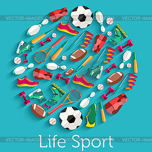 Circular Konzept der Sportwaren Aufkleber - farbige Vektorgrafik