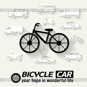 Wohnung Fahrrad Hintergrund Konzept. Tamplate für Web- - schwarzweiße Vektorgrafik