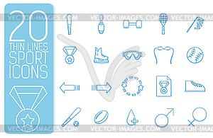 Dünne Linie Sport set icons Konzept. Design - Vektor-Clipart / Vektor-Bild