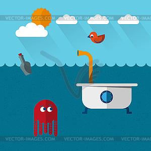Reisen Badewanne U-Boot- - Vector-Illustration