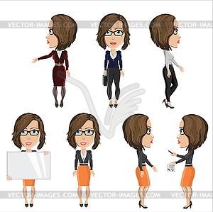 Mädchen mit Brille am Arbeitsplatz - Vektorgrafik-Design