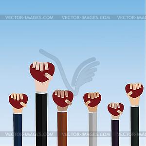 Hände mit Herz - farbige Vektorgrafik