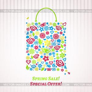 Einkaufstasche für Spring Sale - Stock Vektor-Clipart