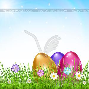 Drei bunte Eier im Gras mit Blumen - vektorisiertes Clip-Art