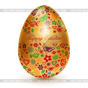 Goldenes Ei mit Blumen - vektorisiertes Bild