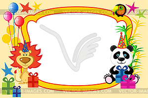 Cartoon-Tiere Rahmen - Vektor-Clipart / Vektor-Bild