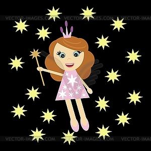 Schönes Mädchen mit Zauberstab - Vektor-Illustration