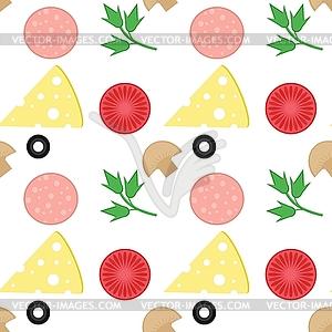 Nahtloser Hintergrund mit Pizzazutaten - Vector Clip Art
