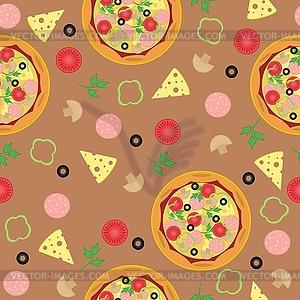 Nahtloser Hintergrund mit Pizza und Zutaten - Vektor-Bild
