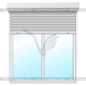 Fenster mit rollladen halb ge ffnet vector clip art - Fenster mit integriertem rollladen ...
