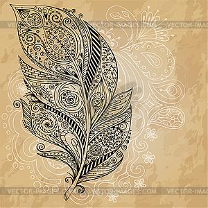 Tribal Grafik Federn mit doodle Muster - Vektorgrafik-Design