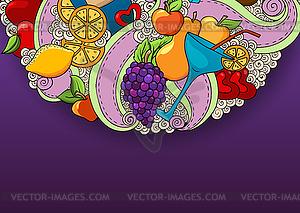 Wein-und Cocktail-Hintergrund. Ferienmuster - Vector-Illustration