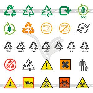 Verschiedene Recycling und gefährliche Abfälle Zeichen Satz - Stock Vektor-Bild