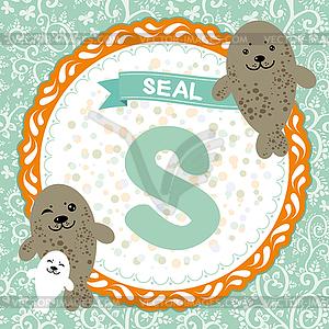ABC Tiere: S ist Dichtung. Kinder Englisch Alphabet - Vektor-Clipart / Vektor-Bild