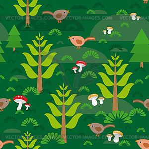 Nahtloser grüner Hintergrund mit Tannen Pilze - farbige Vektorgrafik