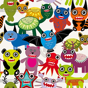 Cute Cartoon Monster nahtlose Muster - vektorisiertes Bild