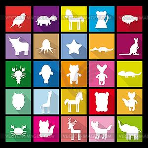 Set Silhouetten von Tieren. Wohnung Symbol - Vektor-Clipart EPS