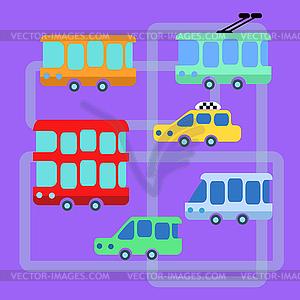Sammlung ÖPNV Bus Taxi Wagen - vektorisiertes Design