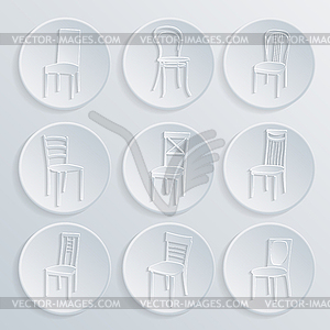 Chair icon set. Symbol Möbel - Vektor Clip Art