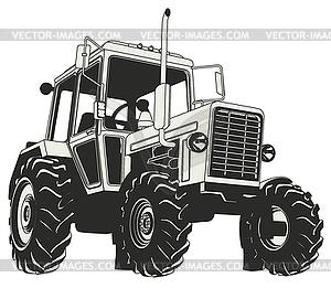 Agricultural Tractor Silhouette - schwarzweiße Vektorgrafik