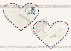 Heart shaped herz luftpostumschlag royalty free clipart for Monarch envelope template