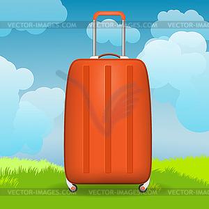 moderne koffer vor gras und himmel vektor clipart. Black Bedroom Furniture Sets. Home Design Ideas