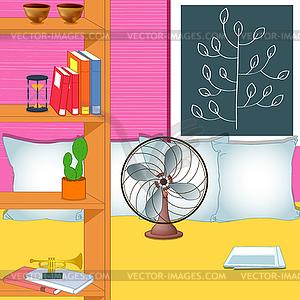 zimmer mit ventilator und dekorfolien vektor skizze. Black Bedroom Furniture Sets. Home Design Ideas