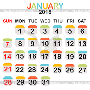 January 2018 calendar - vector EPS clipart