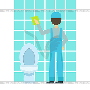 Cool Free RF Clipart Illustration Of A Green And Blue Tile Bathroom