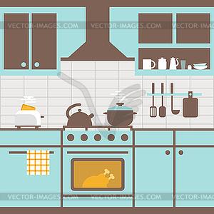 k che mit m beln k chenutensilien clipart bild. Black Bedroom Furniture Sets. Home Design Ideas