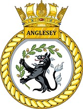 British Navy HMS Anglesey (P277), emblem (crest) of offshore patrol vessel