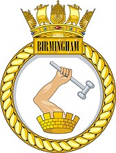 British Navy HMS Birmingham (D86), destroyer emblem (crest)