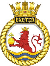 British Navy HMS Exeter (D89), destroyer emblem (crest)